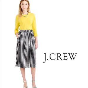 J.Crew Pleaded Midi Skirt In Stripe Size 6